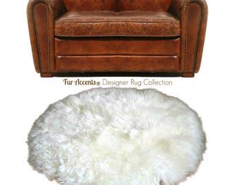 Plush Faux Fur Area Rug - Luxury Fur Round Sheepskin - Designer Throw - Art Rug by Fur Accents - USA