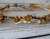 Hand Crafted Gold Flower Crown - Gold Flower Tiara - Gold Rose Headband - Gold Ribbon Tie Back - Gold Christmas Flower Crown - Holiday Crown
