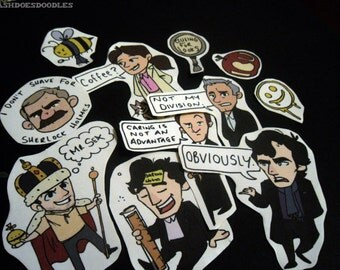 BBC Sherlock stickers and sticker pack -Moriarty, John Watson, Lestrade, Mycroft, Molly Hooper, Sherlock Holmes and more!