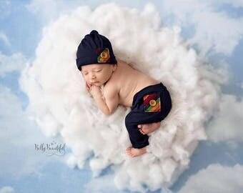 Gabriel Pant Set • Rainbow Baby Boy Pant and Hat Set • Newborn 2 Piece Rainbow Set | Ready to Ship