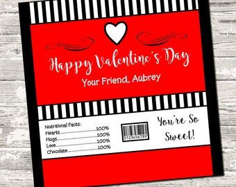 Happy Valentine's Day Candy Bar Chocolate Bar Wrappers Favor Print Your Own Digital