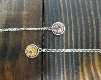 Faux Druzy Pendant Necklace - 18 inch chain - Rose Gold or Metallic Gold