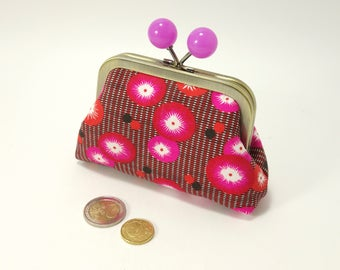Metal frame change purse, pink & red Petit Pan french fabric / Kisslock coin purse / Funny purple balls / Japanese inspired floral pattern