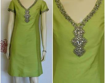 Vintage 60s Dress | 60s Sheath Dress | Beaded Dress | Womens Sheath Dress | Short Sleeve Dress | 60s Fashion | Sheath Dress With Sleeves
