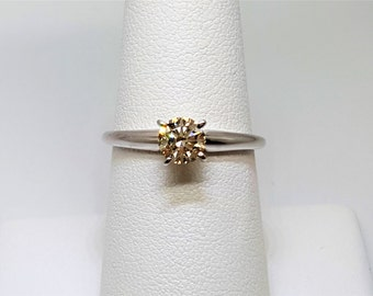 Champagne .64ct Diamond 14kt White Gold Solitaire Ring Size 8