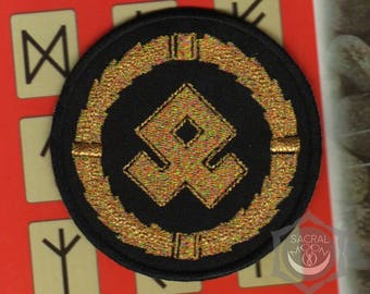 Odal rune embroidered patch Othala rune ancestral norse othal sacred symbol Futhark