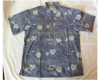 Hawaiian Shirt~~Avi Collection by Kahala~~Aloha Shirt~~Tiki Shirt~~Surf Shirt~~~Tropical Shirt~~Pullover Hawaiian Shirt~~Blue Hawaiian Shirt
