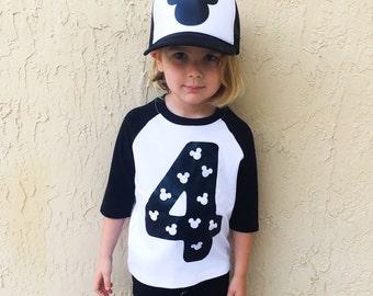 Mickey Birthday Custom Number Solid print boys kids mens baby Bodysuit Tank Top Tee T Shirt Raglan - Any Color