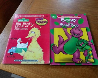 two vintage coloring books sesame street barney vintage 80s90s unused - Barney Coloring Book