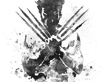 Wolverine inspired ART PRINT illustration, Logan, X-Men, Marvel, Home Decor, Wall Art
