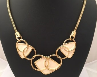 KUNIO MATSUMOTO For TRIFARI Necklace - Cream Colored Enamel Goldtone - Modernist