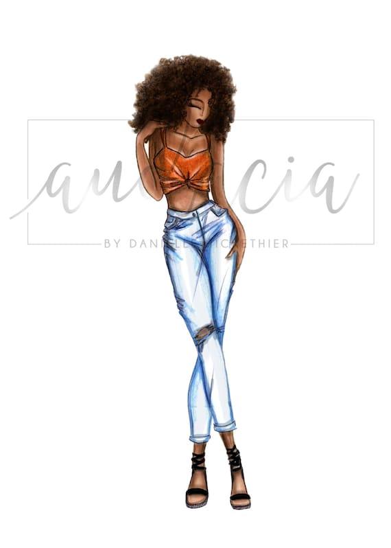 abbastanza Top corto & stampa illustrazione di Denim moda figurino RJ01