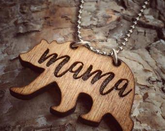 Engraved Wood Mama Bear Necklace