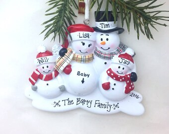FREE SHIPPING Expecting Family Christmas Ornament / New Baby Makes Five Snowmen Ornament / New Baby Personalized Ornament / Family of Five