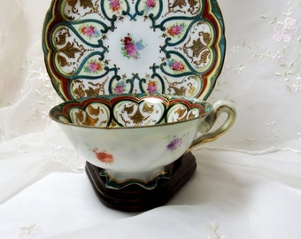 Vintage Tea Cup and Saucer, Multicolor Floral, with Green Foliage, Gold Accents
