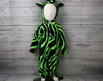 Green Zebra Fleece Costume Size 18M