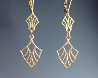 Art Deco Earrings - Vermeil Gold earrings - dangle earrings - 1920's jewelry - Art Deco Jewelry - lever backs - Art Deco fan