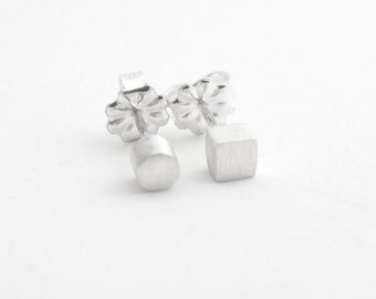 Mismatch Studs, Circle Square Stud Earrings, Sterling Stud Earrings, Geo Studs, Simple Silver Studs