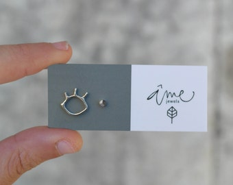 Sterling silver mismatched studs eye lashes and faceted nugget earrings minimalist earrings - AME D'ARGENT