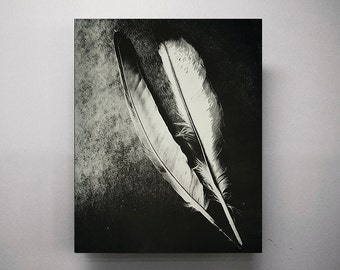Black and White Feathers Photography Monochrome Fine Art Photography Feather Artwork Vertical Large Art Wall Print Decor Modern Abstract Art