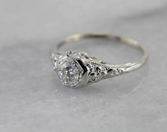 1920's Art Deco Diamond Engagement Ring, Sweet White Gold Filigree Setting P4H36L-R