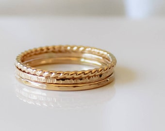 Gold Rings, Jewelry, 3 Ring Mixed Ring Set, THIN 14k Gold Filled Stacking Set, Minimalist Jewelry, Hammered Rings, Boho Jewelry, Gifts