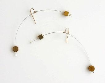 AIR MOBILE EARRINGS No. 2 | modern jewelry, gold earrings, dangle earring, silver earrings, minimalist jewelry, mobiles, geometric earring |