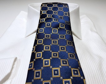 Silk Tie in Geometric with Champagne Yellow Gold White and Navy Blue