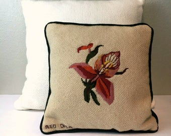 Vintage Embroidered Red Disa Flower Pillow / Green Velour Back