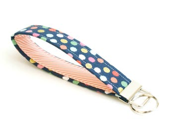 NEW! Key Fob - Dots on Navy with Coral Stripe - 5 Inch Key Ring - Key Chain - Cute Wristlet Loop - Short Lanyard Strap - Gold, Pink