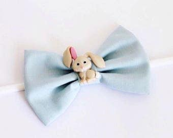 Pastel Blue Fabric Button Easter Bunny Accent Nylon Headband