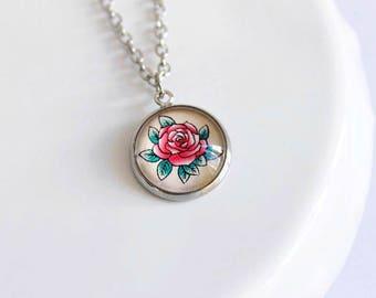 Retro Rose Cameo Necklace