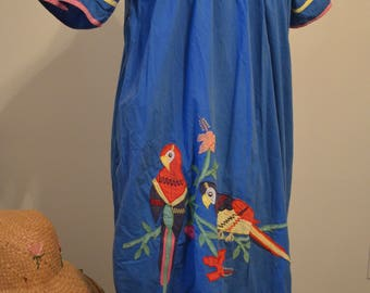 Vintage 70s Loungees blue cotton house dress muumuu dress parrot flowers O/S