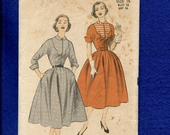 1950's Advance 6211 Mid Century Ladies Shirtwaist Dress with Detailed Bodice Yoke & Bubble Skirt Size 15