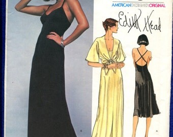 1970's Vogue 1560 Sultry Designer Evening Dress with Cross Strap Back Edith Head Size 14 UNCUT