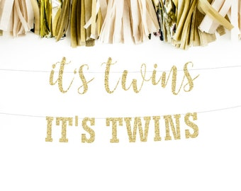 Itu0027s Twins Banner, Twins Decorations, Baby Shower Banner, Twins Party,  Cursive Banner