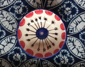 Cobalt and Red Ceramic Bowl