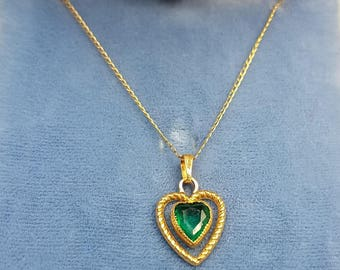 14K Emerald Floating Heart Pendant Necklace May Birthstone