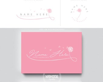dandelion script 1  brush rose initials businesscards  simple modern feminine branding- logo Identity artist makeup wedding photographer
