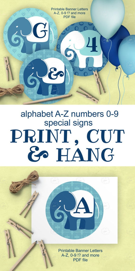 Blue Elephants Banner Letters for personalized boy baby shower decoration, whole alphabet and numbers, DIY, baby shower banner