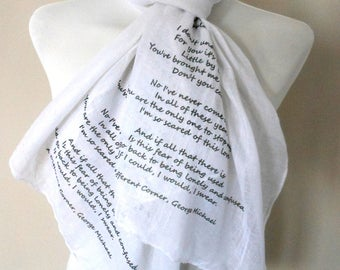 George Michael Scarf. Musical scarf with 'A Different Corner' print. Poetry scarf.