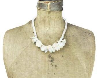 Vintage Leaf Necklace, Pastel Leaf Bib Necklace, Clear Bead Necklace, Pastel Bead Necklace