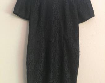 lace short sleeve black dress lbd 80s 90s style