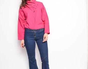 Vintage 80's Pink High Neck Blouse / Pink Long Sleeve  Top - Size Medium
