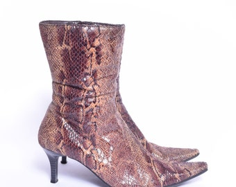 Vintage 90's Snakeskin Fabric Ankle Boot Heels with Zippers