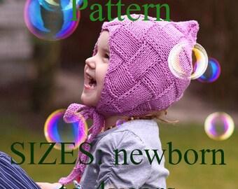 PDF KNITTING PATTERN, knit Pixie bonnet pattern, baby bonnet pattern, knit baby hat pattern, baby knitting pattern, childrens pixie hat pdf
