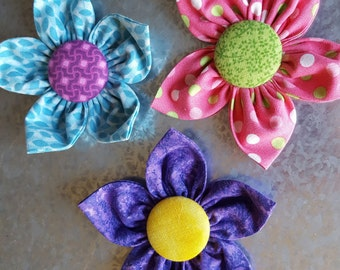 Set of 3 Spring Color Fabric Flower Magnets - Purple, Turquoise, Pink