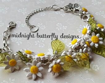 Daisy Chain Charm Bracelet, Handmade Daisy Beads and Butterfly Charm