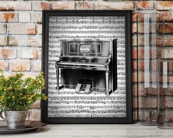 Vintage Upright Piano Sheet Music Art Print