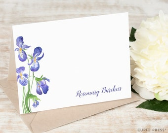 Personalized Notecard Set / Folded Personalized Floral Thank You Cards / Stationery / Stationary Cards / Purple Irises Notes //  IRIS